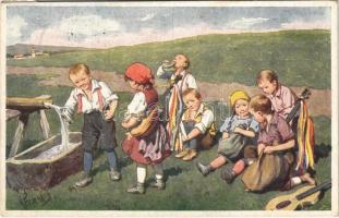 1921 Children art postcard. B.K.W.I. 175/6. s: K. Feiertag