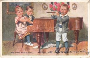 Leise flehen meine Lieder... / Children art postcard. B.K.W.I. 189-3. s: K. Feiertag (Rb)