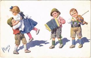 1916 Children art postcard, folklore. B.K.W.I. 194-6. s: K. Feiertag (EB)