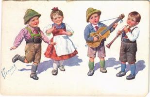 1917 Children art postcard, folklore. B.K.W.I. 194-5. s: K. Feiertag (EM)