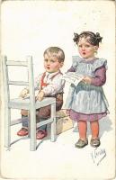 1913 Children art postcard, singing. B.K.W.I. 817-5. s: K. Feiertag (kopott sarkak / worn corners)