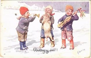 1913 Boldog Újévet! / Children art postcard with New Year greetings. B.K.W.I. 2990-6. s: K. Feiertag (kopott sarkak / worn corners)