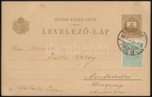 1899 2kr millenniumi díjjegyes levelezőlap 3kr díjkiegészítéssel Uruguayba küldve / Millenium of Hungary 2kr PS-card with 3kr additional franking to Uruguay