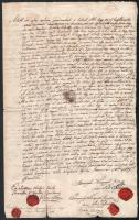 1837 Szúnyogh József és Szúnyogh Ferenc testvérek által kötött adásvételi szerződés és záloglevél, másik oldalán későbbi kiegészítésekkel, 5 db viaszpecséttel
