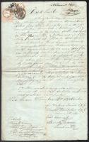 1858-1894 Encs, öröklevél, 25+5 kr okmánybélyeggel, későbbi kiegészítésekkel + Kassa, nemesi birtok telekkönyvi kivonata, 1 ft okmánybélyeggel