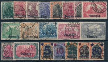 Danzig 1920 Forgalmi sorok Mi 1-15 + 16-20 (Mi EUR ~200.-)