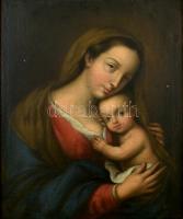 Jelzés nélkül, feltehetően a XVIII. sz. végén működött itáliai festő műve: Madonna a kisdeddel. Olaj. vászon. Restaurált. Dekoratív, kissé sérült fa keretben. 57,5x47 cm