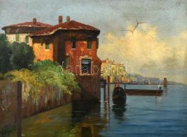 Olvashatatlan jelzéssel, feltehetően a XX. sz. elején működött magyar festő alkotása: Mediterrán tengerpart. Olaj. vászon, sérült. Dekoratív, kissé sérült korabeli fa keretben. 32x47,5 cm