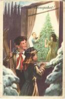 Kellemes Ünnepeket! Magyar szocialista (szocreál) üdvözlőlap. Művészeti Alkotások kiadása / Hungarian Socialist Christmas greeting art postcard (EB)