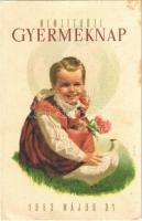 1953 Nemzetközi Gyermeknap. Kiadja a Magyar Nők Demokratikus Szövetsége / International Childrens Day propaganda card (EK)