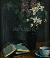 Jelzés nélkül, feltehetően 1910-30 körül működött nagybányai festő alkotása: Csendélet. Olaj, vászon, kissé sérült. Dekoratív fa keretben. 44x38 cm