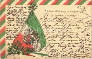 1901 Isten áldd meg a magyart, jó kedvvel s bőséggel! Magyar címer és zászló, hazafias propaganda / Hungarian flag and coat of arms, patriotic propaganda. Emb. litho (apró lyuk / tiny pinhole)