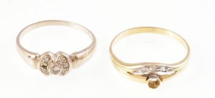 Arany (Au) 14k. Gyűrű 2db. Cirkónia ékítéssel, kő hiányokkal. Jelzett. 4,1g M: 57 és 58