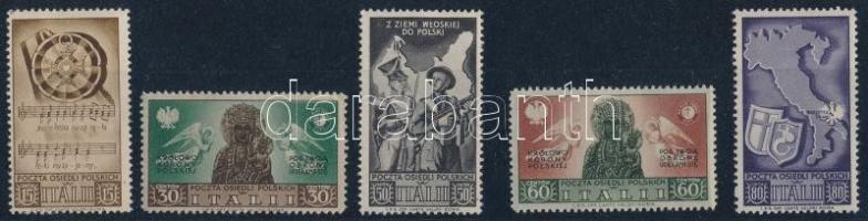 1946 Lengyel légió Olaszországban sor 5 db értéke ( 50 c bélyegen betapadás/gum disturbance)