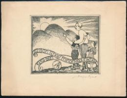 Bajor Ágost (1892-1958): Süssön a nap mindnyájunknak jókívánság kártya az 1939-es évre. Rézkarc, papír, jelzett, 8×9 cm