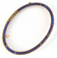 Aranyozott, zománcozott réz képkeret, hátoldalán 1 db rátét hiányzik, belső méret: 11×8 cm