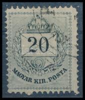 1874 20kr alsó ernyős vésésjavítással (ex Lovász)