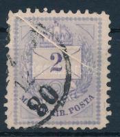1874 2kr szép papírránccal