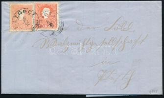 1861 2 x 5kr II. típus távolsági levélen teljes tartalommal. A bélyegek jelentősen eltérő színárnyalatban, ez a 2. kiadásnál rendkívül ritka! RRR! GALGÓCZ - Pesth