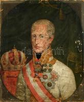 Jelzés nélkül, feltehetően XIX. sz. festő alkotása: Habsburg-Lotaringiai János főherceg (1782-1859) portréja kitüntésekkel. Olaj, vászon, sérült. 66×52,5 cm