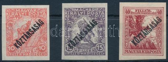 1918 Hadisegély (III.)/Köztársaság vágott sor, nagyon ritka