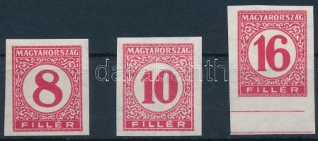 1929 Pengő-fillér portó (I.) 3 klf vágott érték, 8f, 10f és ívszéli 16f vékony papíron (15.000)