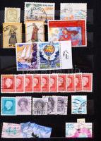 Vegyes külföldi bélyegek, többségben pecsételtek, 12 lapos, közepes berakóban + cserefüzet német bélyegekkel + FDC-k, díjjegyes levelezőlapok, futott levelek, emléklapok