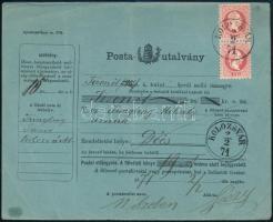 1871 1867-es 5kr pár postautalványon, KOLOZSVÁR - Deés