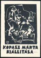 Kopasz Márta (1911-2011): Sárkányölő Szent György. (Kopasz Márta kiállítása). Linómetszet, papír, jelzett. 13x9 cm