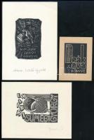 3 db ex libris: Gy. Szabó Béla (1905-1985): Molnár János könyve. Fametszet, papír. Jelzett a metszeten. Lap alján terv: László Gyula felirattal. 7,5x5 cm + Veress Pál (1920-1999): Deák Éva könyve. Linómetszet, papír. Jelzés nélkül. 5,5x4 cm + Bodri Ferenc (1943-2021): Ex libris Sümegi György. Fametszet, papír, jelzett. 5,5x7,5 cm
