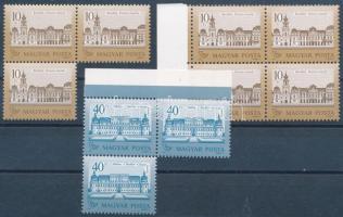 1987 Kastélyok II. Sihl papíros összeállítás, benne 10Ft ívszéli négyestömb és hármastömb + 40Ft ívszéli hármastömb, fogazatváltozatokkal (29.400+)