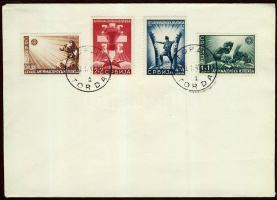Serbien 1942 Mi 58-61 címzetlen borítékon