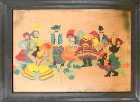 Jelzés nélkül, feltehetően a XX. sz. első felében működött magyar népművész alkotása: Társaság. Halina kép, kartonon. Foltos, kissé sérült. Korabeli üvegezett, kopott fa keretben. 75x100 cm