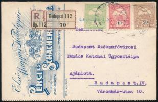 1917 Budapest helyi ajánlott nyomtatvány három színű Turul bérmentesítéssel / Budapest local registered printed matter