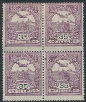 1913 Turul 35f négyestömb fekvő vízjellel, erősen elfogazva, az alsó 2 bélyeg postatiszta / 2 stamps below mint never hinged (300.000)