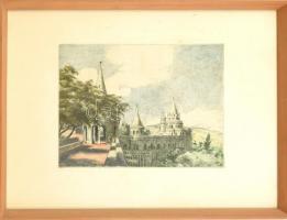 Bajor Ágost (1892-1958): Halászbástya. Színezett rézkarc, papír, jelzett, lap széle kissé foltos, üvegezett fa keretben, 24×29,5 cm