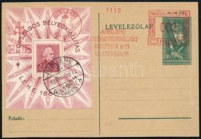 1934 LEHE blokk díjjegyes levelezőlapon, alkalmi bélyegzéssel (min. 25.000)
