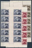 1950 Bem József I. sor ívközéprészes párokból álló ötöscsíkokban, 1Ft 2 db felső üres mezővel (44.000+)