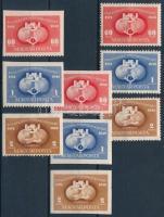 1949 UPU I. 3 db sor: fogazott, vágott + három oldalon fogazatlan (21.300)