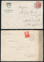 19 db küldemény + 2 db megcímzett boríték bélyeg nélkül + régi bélyegnyelv leírás + 2 db védjegy