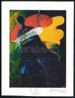 Aknay János (1949-): Harang. Computer print, merített papír, jelzett, számozott 33/200 11x8 cm