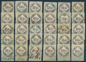 1854 30 db 15kr osztrák illetékbélyeg