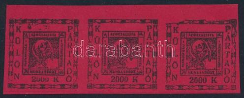 1920 MSZP 2000K pártadó-bélyeg (egyben tagsági bélyeg) hármascsík, ritka