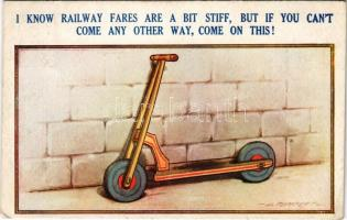 I know railway fares are a bit stiff, but if you cant come any other way, come on this! Bamforth & Co. Comic Series No. 1066. (EK)