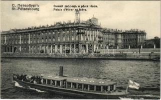 Saint Petersburg, St. Petersbourg, Petrograd; Palais dHiver et Néva / Winter Palace, riverside with steamship. Edition Richard No. 756.