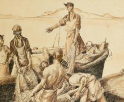 Jelzés nélkül: Balatoni halászok. Tus, papír. 28x39cm. Sérült. Üvegezett sérült fa keretben.