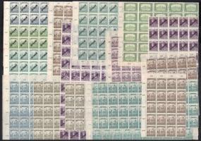 26 db magyar ív és ívdarab, közte Arató, Parlament, Köztársaság, Károly