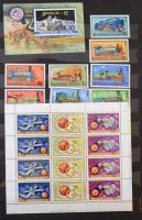 Magyar gyűjtemény a 70-es évekből nagy berakóban + borítékokban + 150-200 db modern képeslap, dobozban