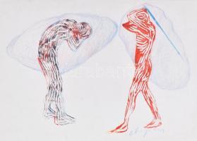 A. Varga Imre (1953-): Alakok. Ceruza, linómetszet, papír, jelzett, lapszéli apró szakadfásokkal, 35x50 cm