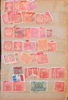 Magyar és külföldi forgalmi bélyegek 30 lapos régi közepes berakóban, közte sok Erzsébet-fejes bélyeg, tengerentúli értékek, USA stb.